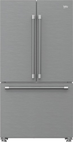 """Beko 36"""" French Three-Door Stainless Steel Refrigerator with auto Ice Maker, Water Dispenser"""