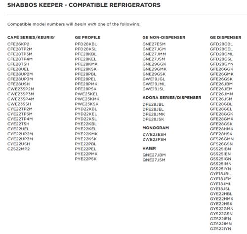 Model: SHABBOSKEEPER | GE Refrigerator Sabbath Mode Interface
