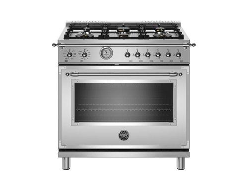 "Model: HERT366GASXT | Bertazzoni 36"" Heritage Series range - Gas Oven - 6 brass burners"