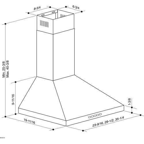 Model: BWP2304SS   Broan 30-Inch Convertible Wall-Mount Pyramidal Chimney Hood