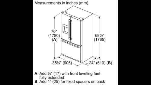 Model: B36CD50SNB   Bosch 500 Series French Door Bottom Mount Refrigerator