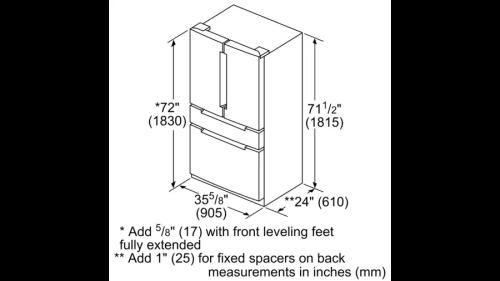 Model: B36CL81ENG | Bosch 800 Series, French Door Refrigerator