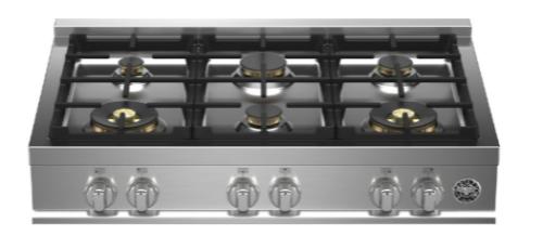 "Bertazzoni 36"" Gas Rangetop 6 Brass Burners"