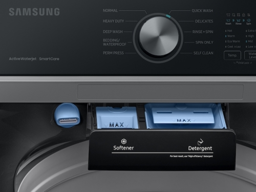 Model: WA44A3405AV | Samsung 4.4 cu. ft. Top Load Washer with ActiveWave™ Agitator and Active WaterJet in Brushed Black