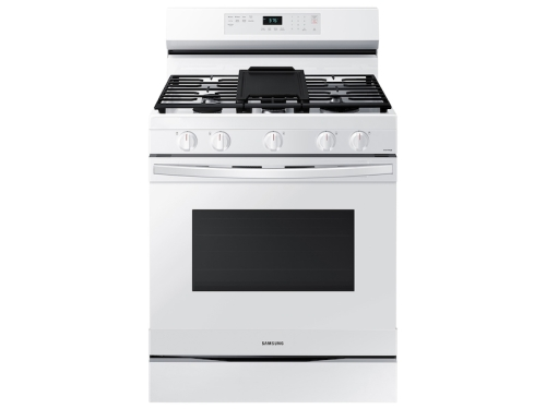 Samsung 6.0 cu. ft. Smart Freestanding Gas Range with Integrated Griddle in White