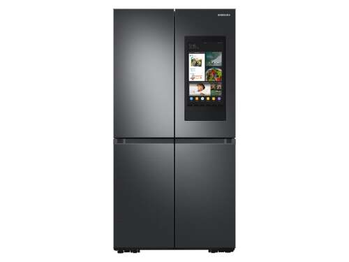 Samsung 23 cu. ft. Smart Counter Depth 4-Door Flex refrigerator with Family Hub  and Beverage Center in Black Stainless Steel
