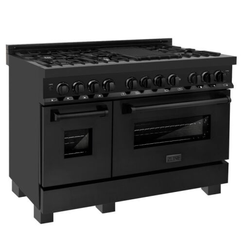 "ZLINE ZLINE 48"" Black Stainless 6.0 cu.ft. 7 Gas Burner/Electric Oven Range (RAB-48)"