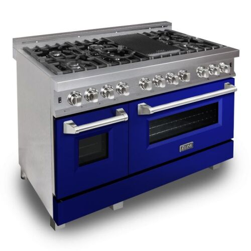 ZLINE ZLINE 48 in. Professional Dual Fuel Range in DuraSnow® Stainless Steel with Blue Gloss Door (RAS-BG-48)