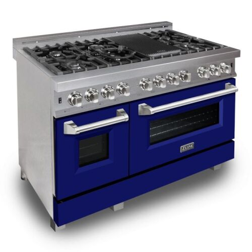ZLINE ZLINE 48 in. Professional Dual Fuel Range in DuraSnow® Stainless Steel with Blue Matte Door (RAS-BM-48)