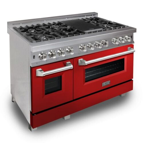 ZLINE ZLINE 48 in. Professional Dual Fuel Range in DuraSnow® Stainless Steel with Red Gloss Door (RAS-RG-48)