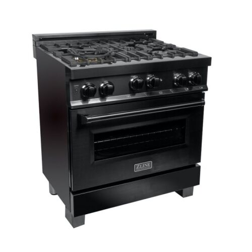 ZLINE ZLINE 30 in. Professional 4.0 cu. ft. 4 Gas on Gas Range in Black Stainless Steel (RGB-30)
