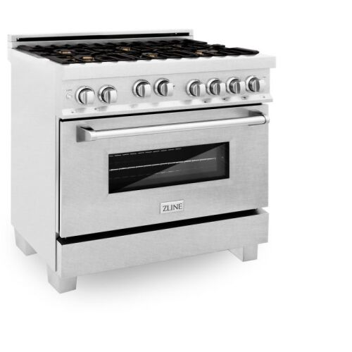ZLINE ZLINE 36 in. Professional 4.6 cu. ft. 6 Gas on Gas Range in DuraSnow® Stainless Steel with Brass Burners (RGS-SN-BR-36)