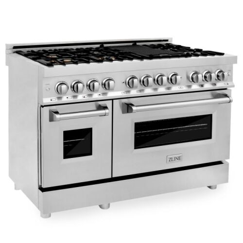 ZLINE ZLINE 48 in. Professional 6.0 cu. ft. 7 Gas Burner/Electric Oven Range in Stainless Steel with Brass Burners (RA-BR-48)