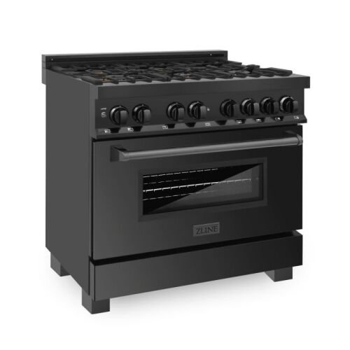 "ZLINE ZLINE 36"" Black Stainless 4.6 cu.ft. 6 Gas Burner/Electric Oven Range with Brass Burners (RAB-BR-36)"