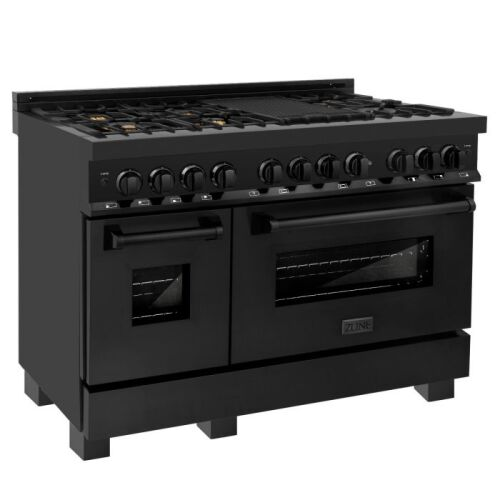 "ZLINE ZLINE 48"" Black Stainless 6.0 cu.ft. 7 Gas Burner/Electric Oven Range with Brass Burners (RAB-BR-48)"