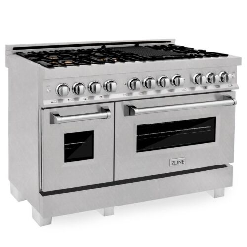 ZLINE ZLINE 48 in. Professional 6.0 cu. ft. 7 Dual Fuel Range in DuraSnow® Stainless Steel with Brass Burners (RAS-SN-BR-48)