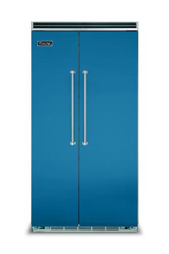 "Viking 42""W. BI Side-by-Side Refrigerator/Freezer-Alluvial Blue"