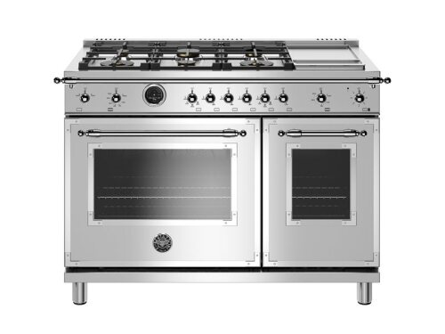 Bertazzoni 48 inch Dual Fuel Range, 6 Brass Burners and Griddle, Electric Self Clean Oven