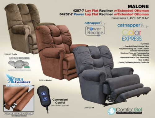 Catnapper Malone Lay Flat Recliner w/ Extended Ottoman